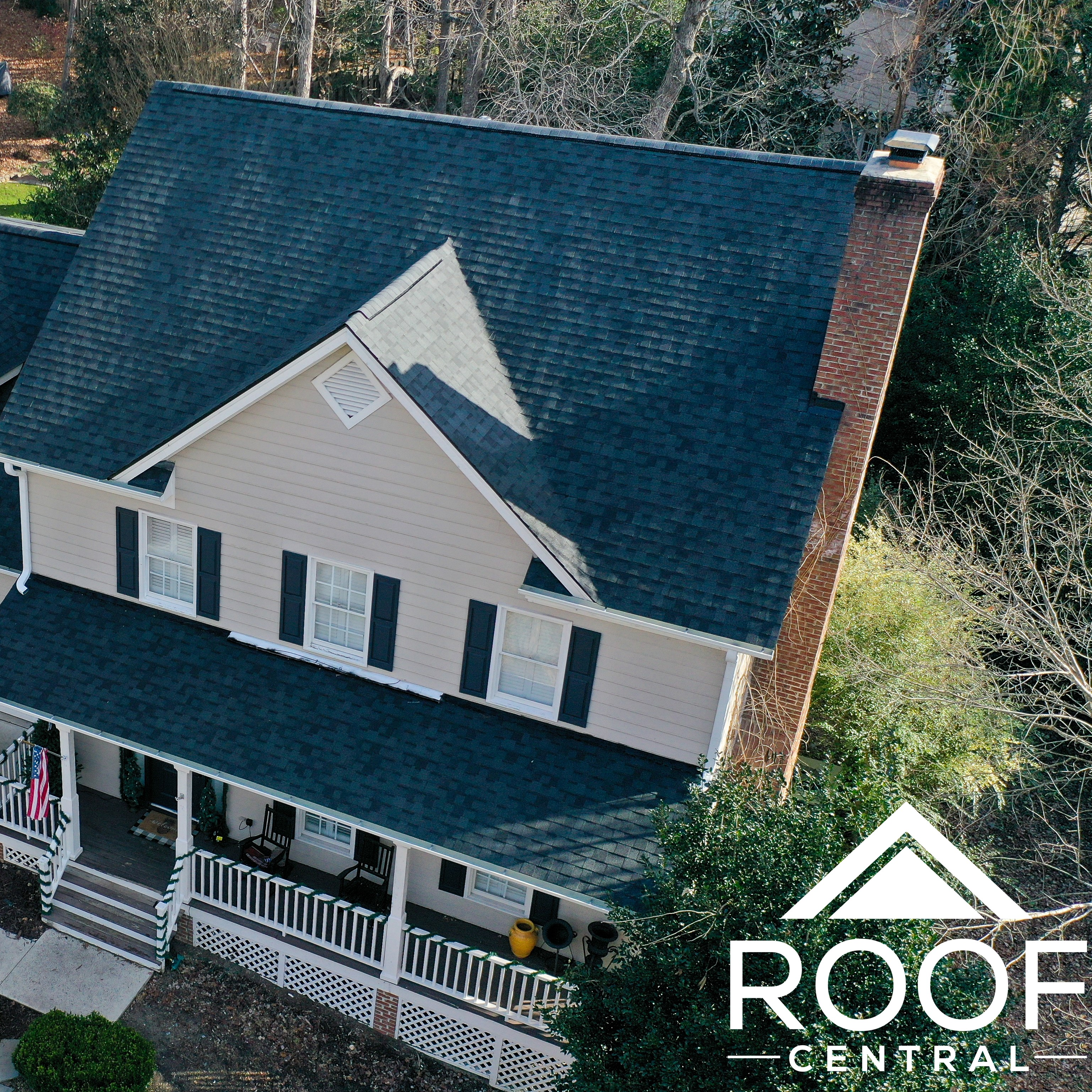 A finished residential roof.