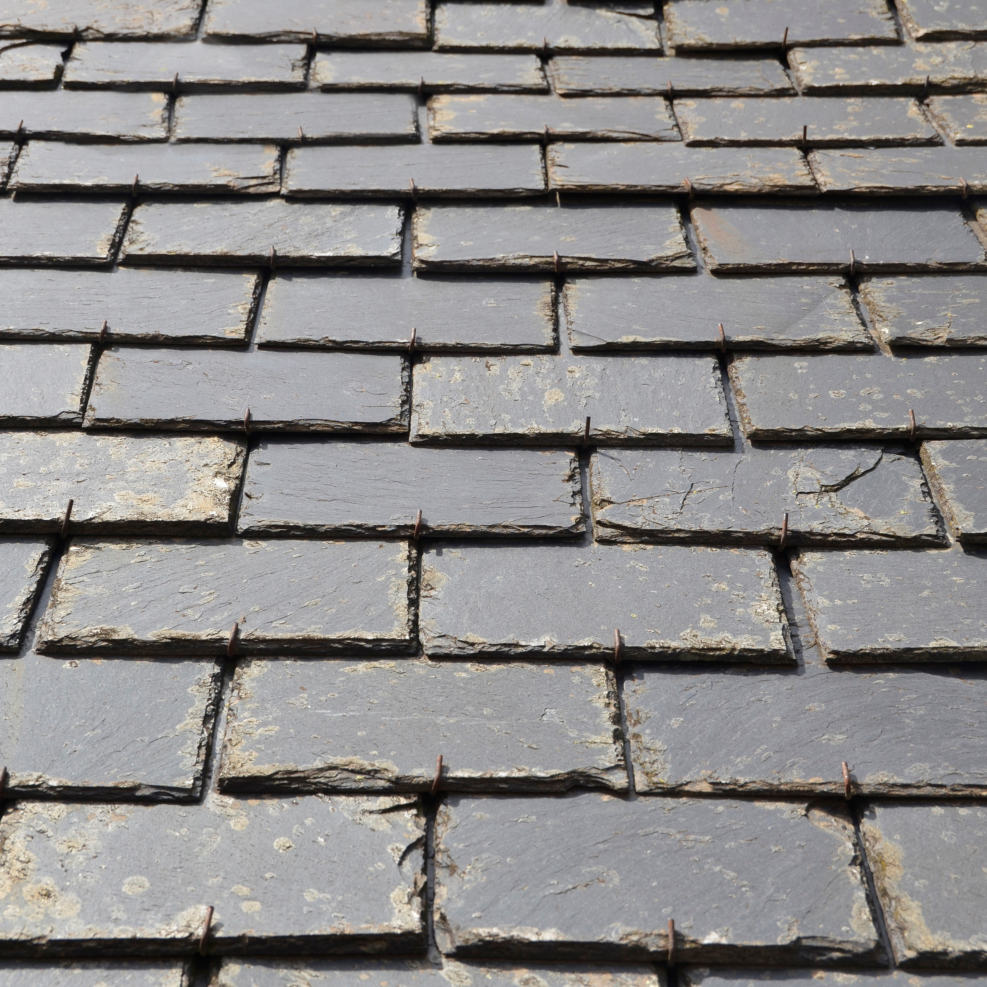 A close of up historic slate roofing.