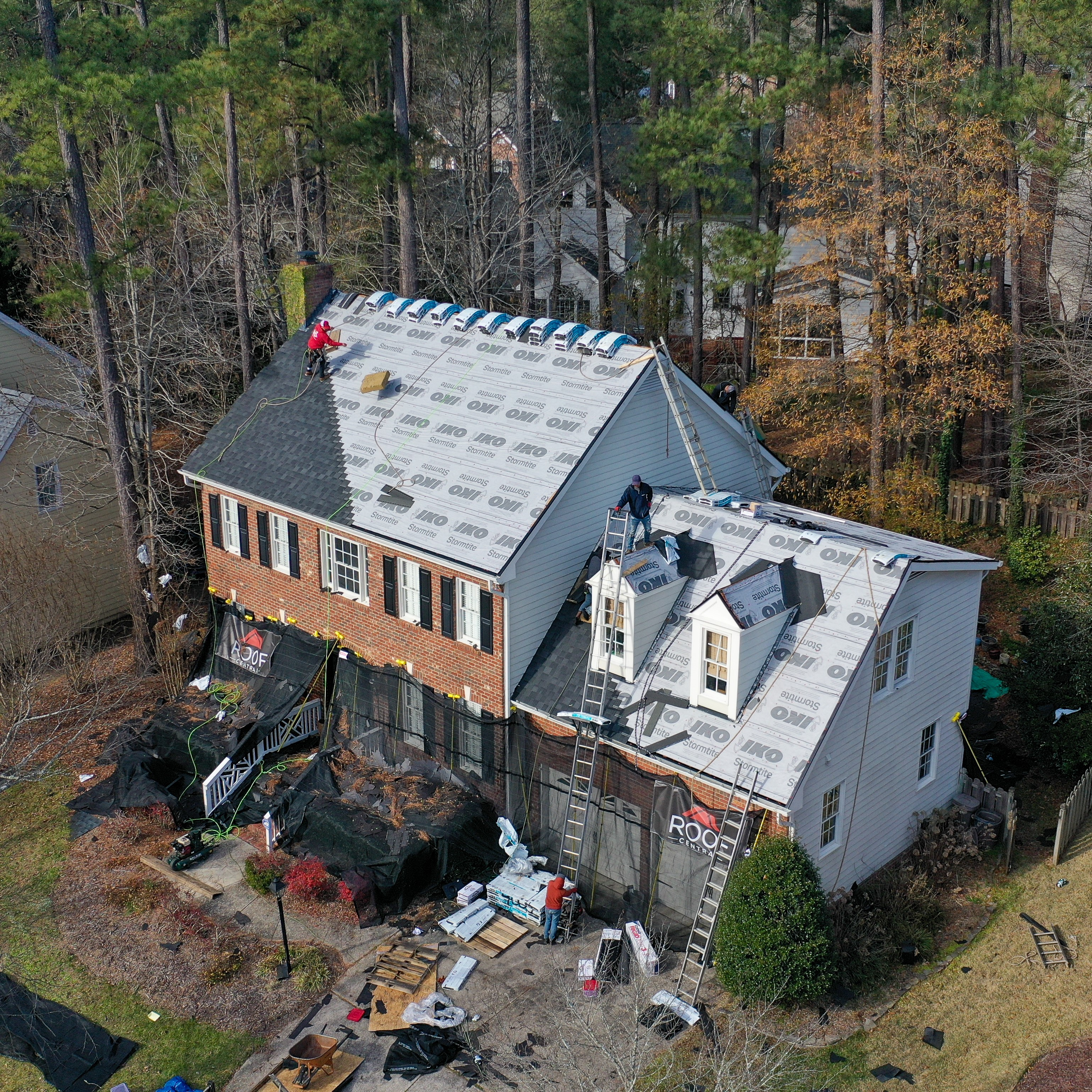 A residential roof in the process of being installed.