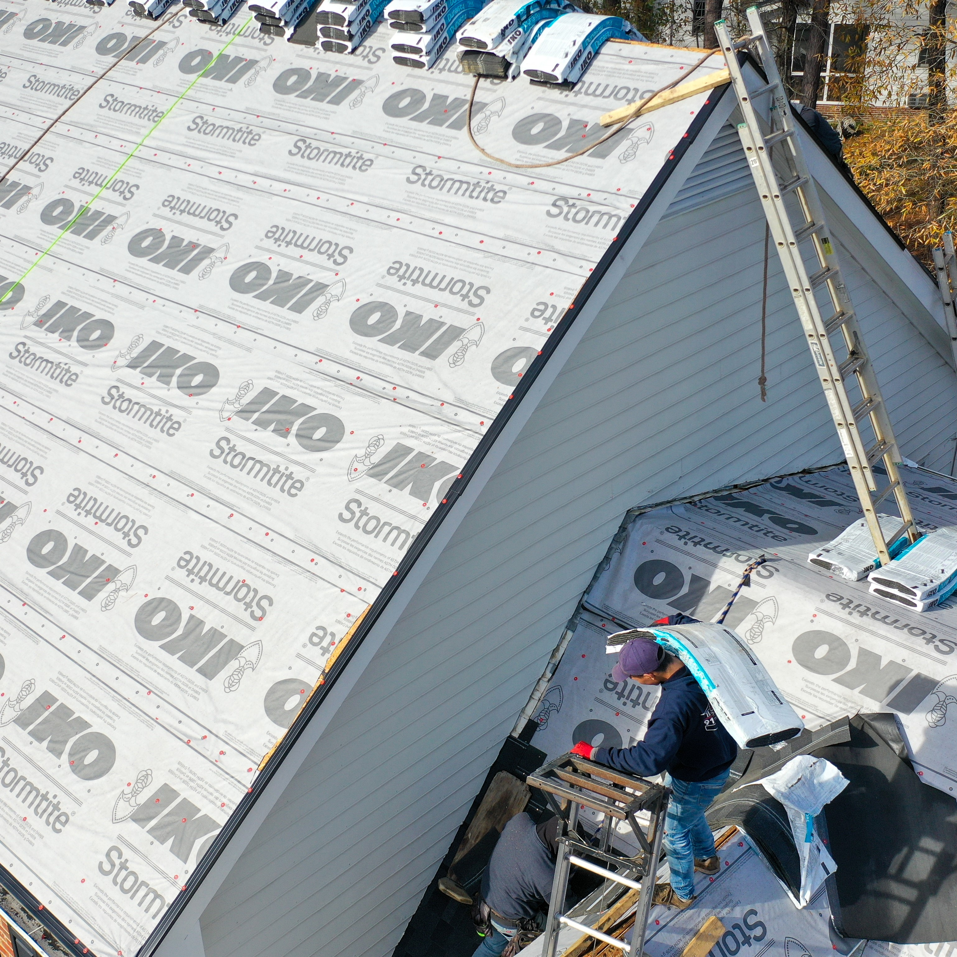 A roof in the process of being installed.