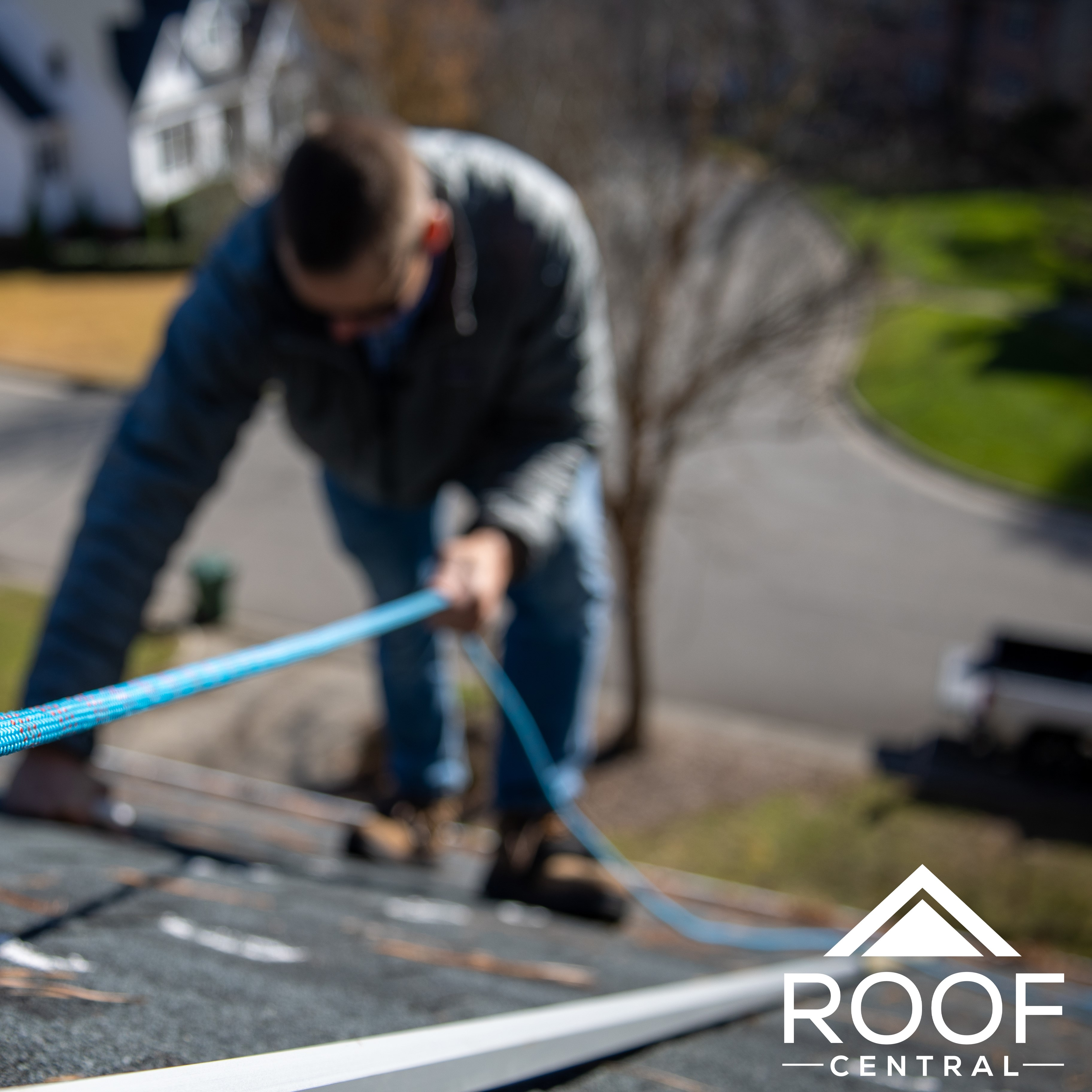 A roofer checking out a roof.
