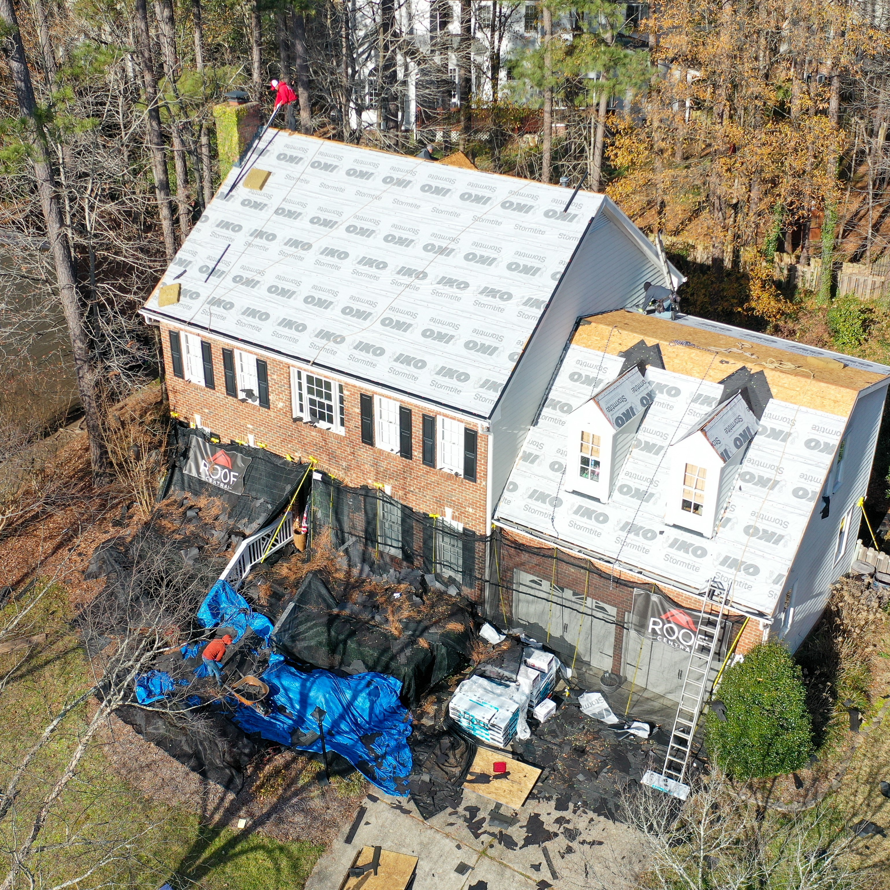 A roof being installed on a home.